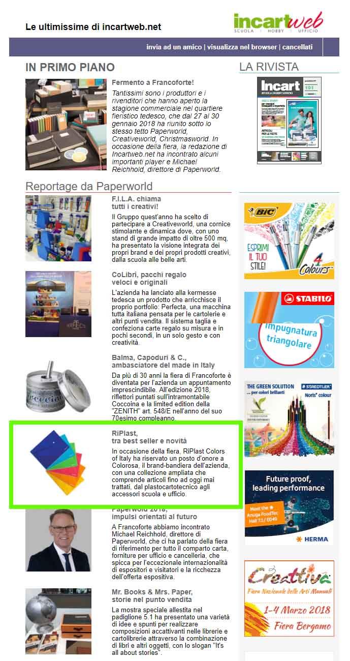 Incartweb Newsletter feb 2018 - Colorosa + BKL + SpeedyCover
